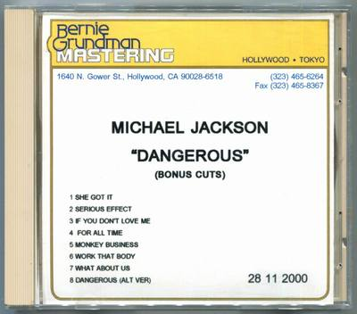 2000-MICHAEL JACKSON-DANGEROUS BONUS CUTS-8 TRACKS-USA ACETATE CD