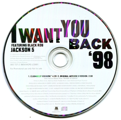 1998-THE JACKSON FIVE-I WANT YOU BACK '98-2 TRACKS-EU PROMO CDSINGLE
