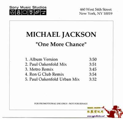 2003-MICHAEL JACKSON-ONE MORE CHANCE-5 TRACKS-ACETATE CD