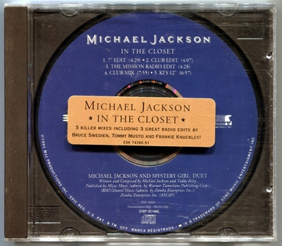 1991-MICHAEL JACKSON-IN THE CLOSET-5 TRACKS-USA PROMO CDSINGLE-美国宣传版