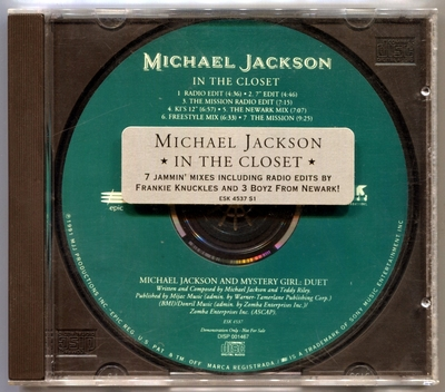 1991-MICHAEL JACKSON-IN THE CLOSET-7 TRACKS-USA PROMO CDSINGLE-美国宣传版